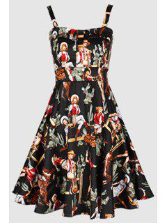 Printed Vintage Spaghetti Straps Ball Gown Dress - Black S