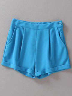 Solid Color High Waist Hemming Shorts - Blue L