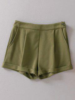 Solid Color High Waist Hemming Shorts - Army Green L