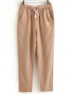 Drawstring Casual Pockets Solid Color Pants - Light Khaki Xl