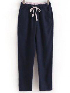 Drawstring Casual Pockets Solid Color Pants - Deep Blue L