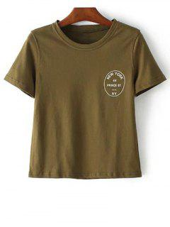 Short Sleeve Letter Pattern Round Neck T-Shirt - Army Green S