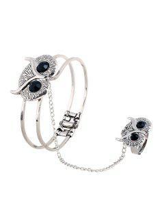 Owl Head Mitten Bracelet - Silver
