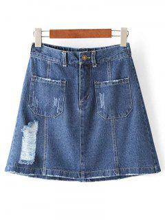 Ripped Pockets Denim A Line Skirt - Denim Blue S