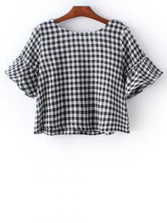 A Cuadros De La Llamarada De La Manga Redonda Del Cuello De La Camiseta - Negro L