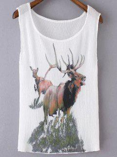 Plisado Con Cuello Redondo Sin Mangas De Impresión Elk - Blanco