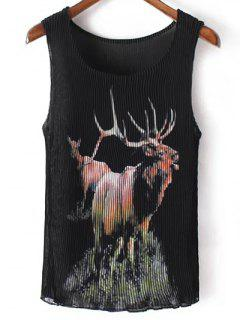 Pleated Scoop Neck Elk Print Tank Top - Black