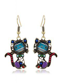 Bead Hollow Out Cat Pendant Earrings - Light Blue