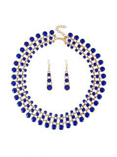 Round Hollow Out Necklace And Earrings - Sapphire Blue