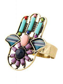 Bead Hollow Out Hand Rings - Purple