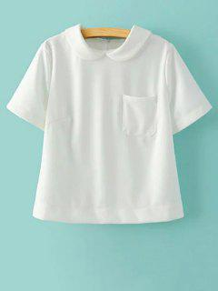 Sólido Collar De Peter Pan Del Color De Manga Corta Camiseta Con Bolsillo - Blanco L