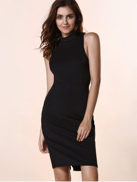 latest Black Hollow Out Round Neck Sleeveless Dress - BLACK S Mobile