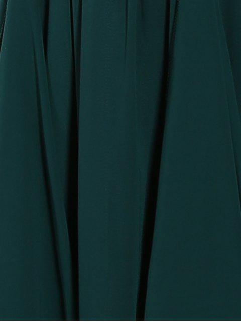 outfits Ruffles Plunging Neck Formal Maxi Dress - GREEN L Mobile
