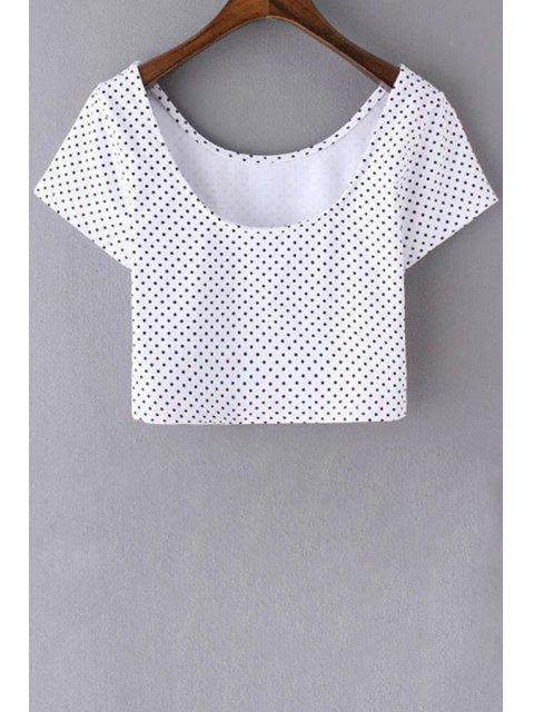 De lunares con cuello redondo de manga corta recortada de la camiseta - Blanco S Mobile