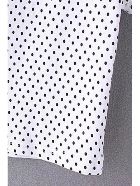 hot Polka Dot Scoop Neck Short Sleeve Cropped T-Shirt - WHITE S Mobile