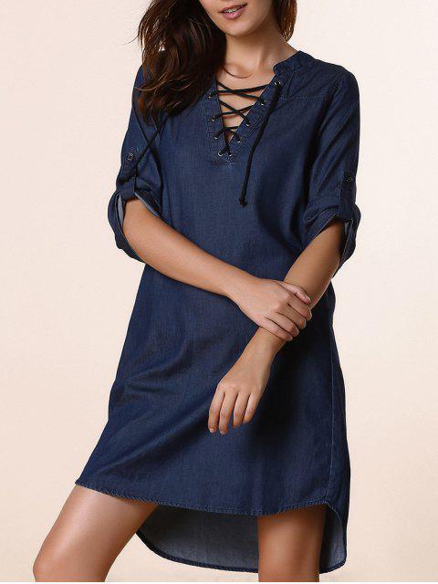 Rouleau Denim manches Robe droite - Bleu Foncé XL Mobile