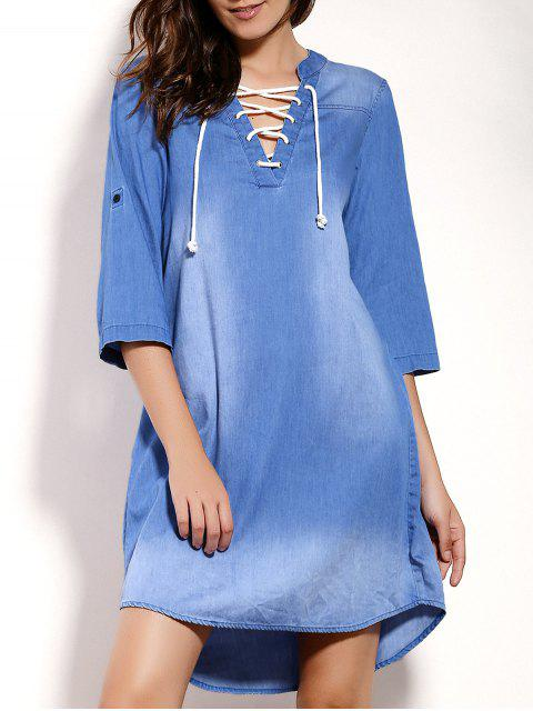 buy Lace Up Denim Tunic Dress - BLUE M Mobile