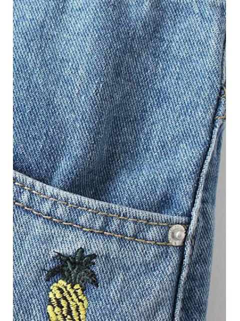 womens Pineapple Embroidery High Waisted Denim Shorts - LIGHT BLUE XL Mobile