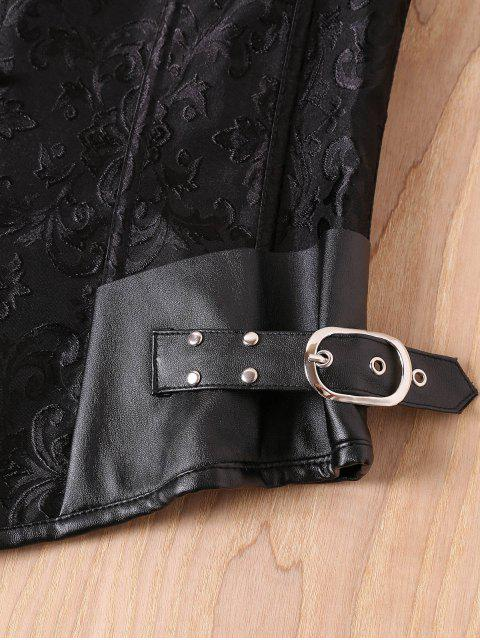 sale Alloy Buckle Steampunk Lace Up Corset - BLACK S Mobile