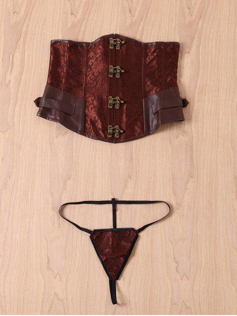 women Alloy Buckle Steampunk Lace Up Corset - BROWN M Mobile
