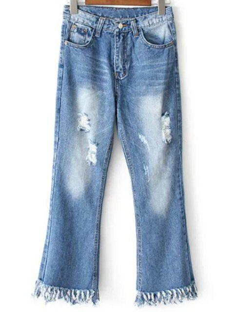outfits Ripped Pockets Rough Selvedge Jeans - LIGHT BLUE L Mobile
