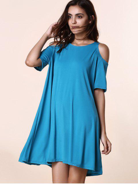 Neck solide ronde couleur à manches courtes Cold Shoulder Dress - Pers L Mobile