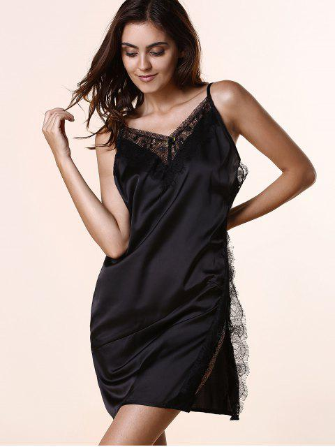 women Open Back Lace Splicing Spaghetti Straps Dress - BLACK M Mobile