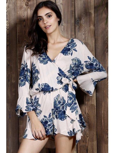 sale Flower Print Plunging Neck Lartern Sleeve Romper - PINK L Mobile