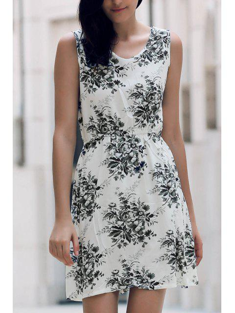 shop Printed Waisted Mini Dress - DUN M Mobile