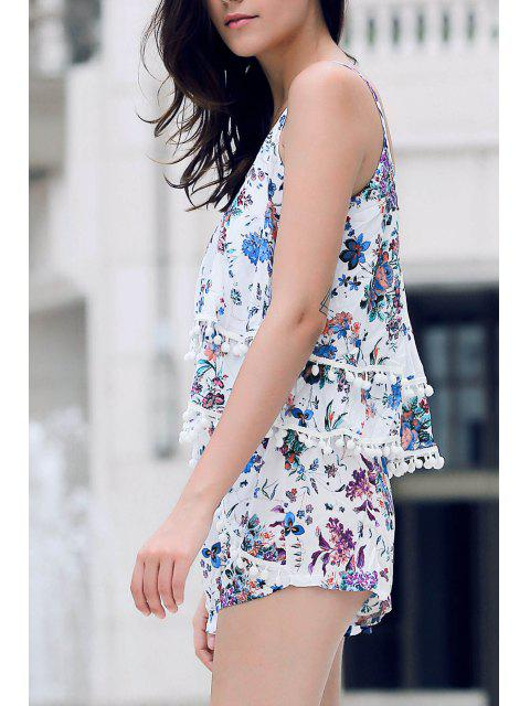 best Floral Print Layered Cami Top and Shorts - BLUE S Mobile