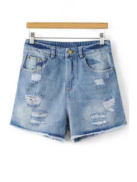 Cutoffs Denim Ripped - Denim Bleu M Mobile