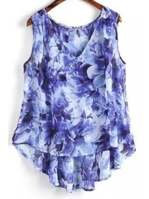 Flor de impresión con cuello en V sin mangas de mayor a menor - Azul S Mobile