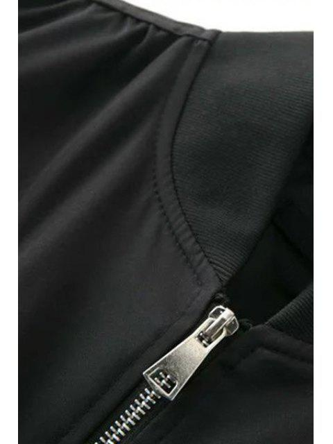 womens Patch Design Stand Neck Long Sleeve Jacket - BLACK L Mobile