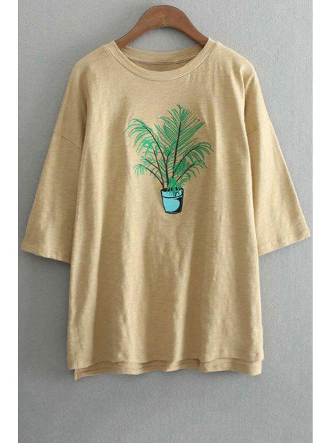 sale Oversized Crew Neck Plant Embroidered T-Shirt - YELLOW ONE SIZE(FIT SIZE XS TO M) Mobile