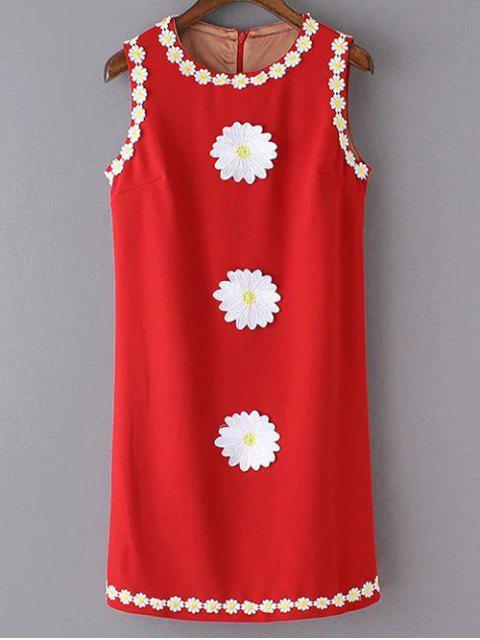 unique Crochet Daisy Tank Dress - RED M Mobile