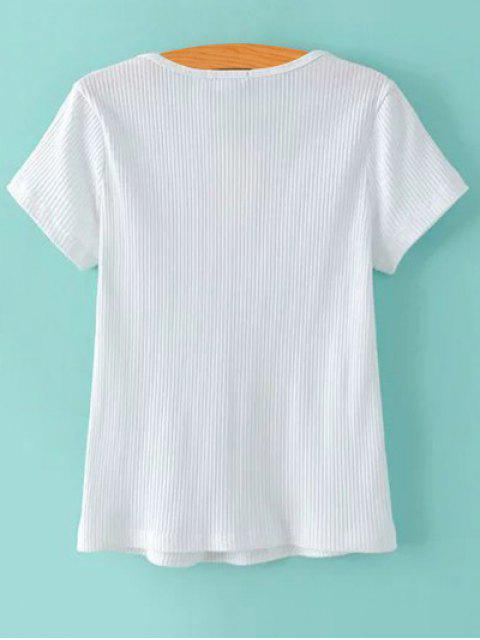 best Ribbed Solid Color T-Shirt - WHITE M Mobile
