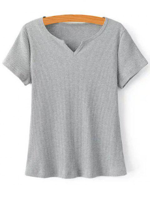 outfit Ribbed Solid Color T-Shirt - GRAY S Mobile