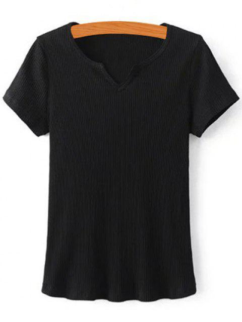 T-shirt de couleur solide côtelé - Noir S Mobile
