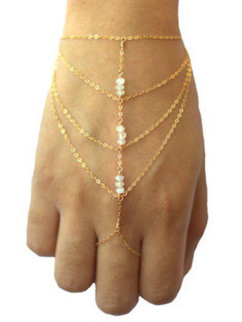 ladies Bead Multilayered Golden Wrist Chain -   Mobile