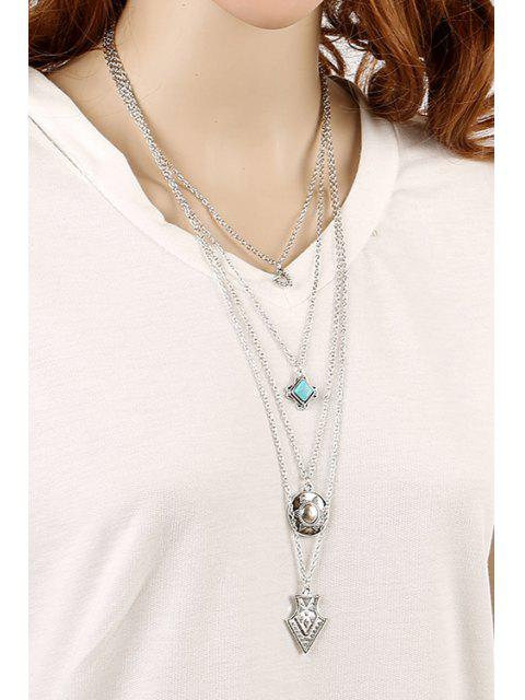 fashion Tribal Style Pendant Multilayered Necklace -   Mobile