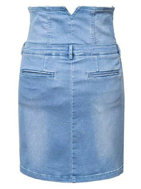 affordable Waist Cincher Denim Mini Skirt - DENIM BLUE M Mobile