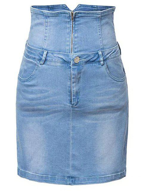 buy Waist Cincher Denim Mini Skirt - DENIM BLUE L Mobile