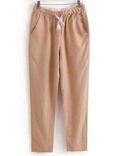 Con cordón Bolsillos pantalones ocasionales del color sólido - CaquiClaro XL Mobile