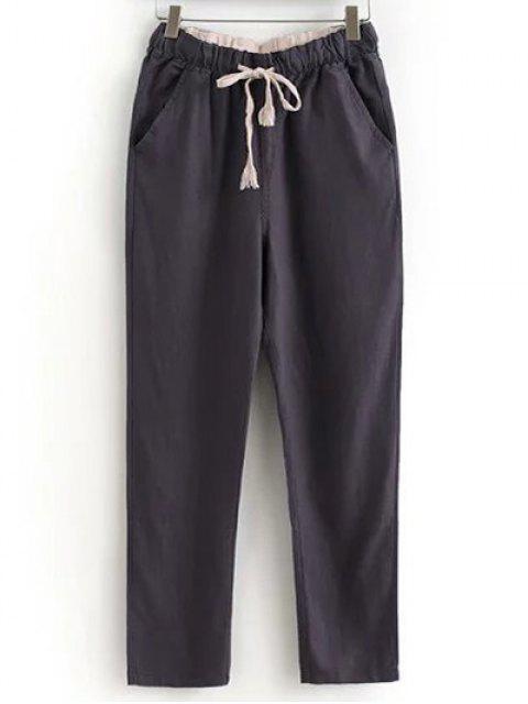 Pantalons casual à lacet avec poches à couleur pure - Chocolat XL Mobile