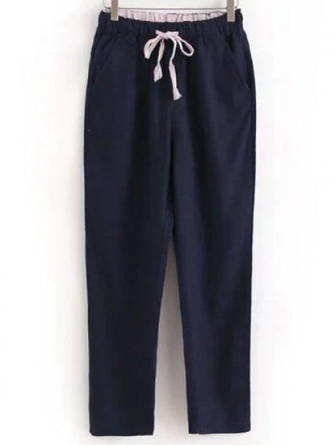 Pantalons casual à lacet avec poches à couleur pure - Bleu Foncé L Mobile