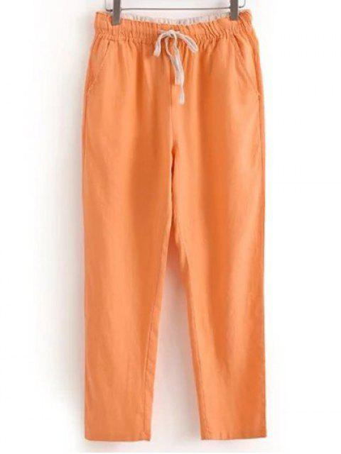 shops Drawstring Casual Pockets Solid Color Pants - ORANGEPINK XL Mobile