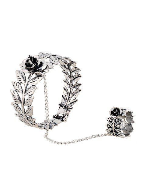 women Flower Leaf Mitten Bracelet - SILVER  Mobile