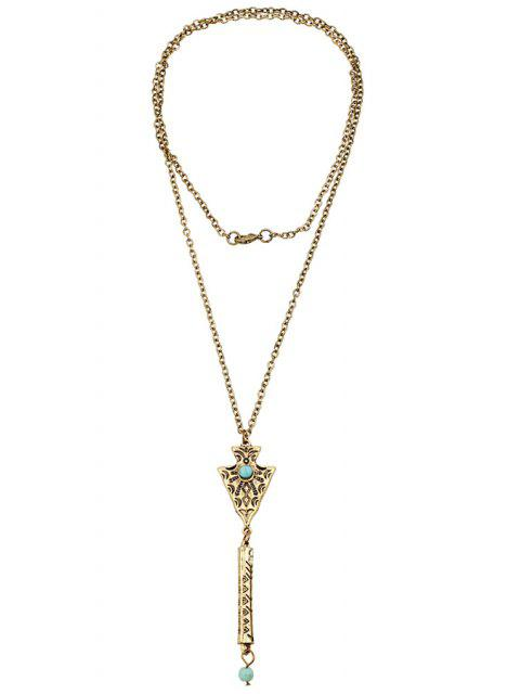 shops Bead Inlay Retro Pendant Necklace -   Mobile