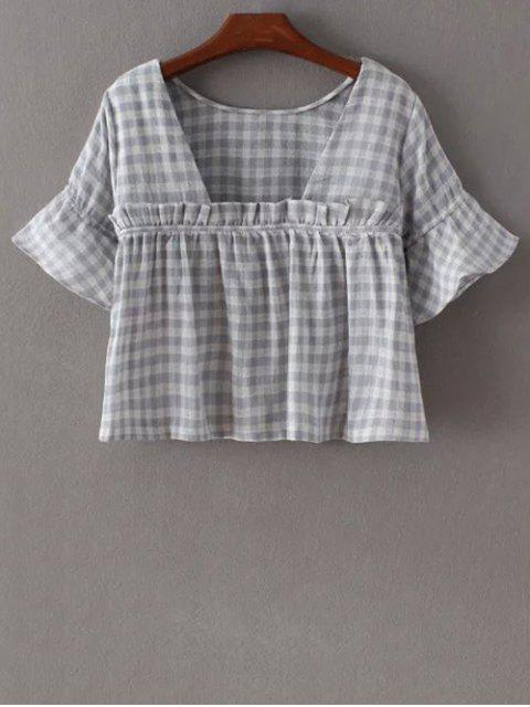 T-shirt à col rond à manches évasées à carreaux - Bleu clair L Mobile