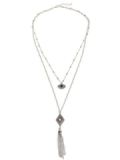 shop Eye Rhombus Tassel Pendant Necklace - SILVER  Mobile